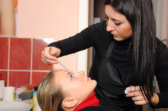 Demande de règlement de peau dans un salon de beauté image libre de droits