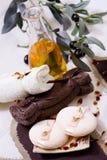 Demande de règlement de station thermale - détendez avec l'huile d'olive Photos libres de droits