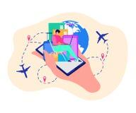 Demande mobile de concept de vecteur de voyageurs illustration libre de droits