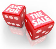 Demandez la règle de Bet Take Chance Selling Customers de vente Images libres de droits