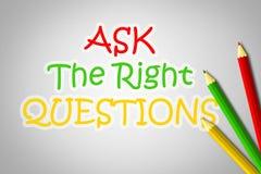 Demandez le concept de questions de droite Images libres de droits