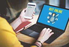 Demandez-nous d'acheter en ligne consultent le concept de support à la clientèle de contactez-nous images stock