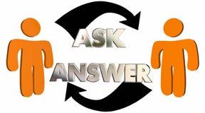 Demandez répondent que les questions obtiennent des flèches de personnes d'aide Photos libres de droits