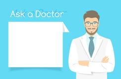 Demandez une bannière de docteur Information Photographie stock