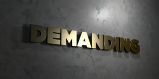 Demanding - Gold text on black background - 3D rendered royalty free stock picture Stock Images