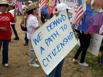 Demanding a Path to Citizenship Stock Image