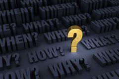 Demanding Questions. A large bright, gold question mark stands out in a dark background filled with growing `WHO?`, `WHAT?`, `WHEN?`, `WHERE?`, `HOW?` and `WHY stock illustration