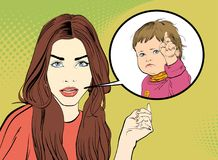 Demanding woman. Demanding girl. Girl looking questioningly. Woman and child. Girl and strict child. Surprised woman and stock illustration