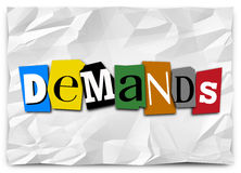 Demands Word Cut Out Letters Ransom Kidnapping Note Message Stock Photography
