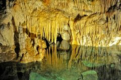 Demanovska Cave of Liberty, Slovakia. Europe. Interior of beautiful Demanovska cave of liberty Demänovská jaskyňa Slobody. Demianowska Valley, Tatry Mountain Royalty Free Stock Photos