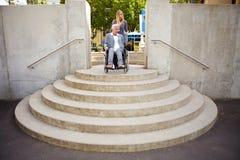 Demasiados pasos de progresión para el utilizador de sillón de ruedas Imagen de archivo libre de regalías