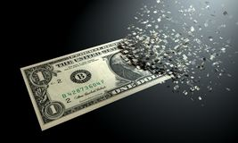 Dollars are dematerialized on a black background. vector illustration