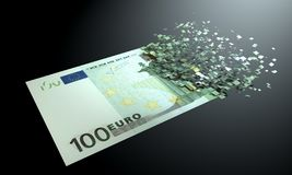 Euros are dematerialized on a black background. royalty free illustration