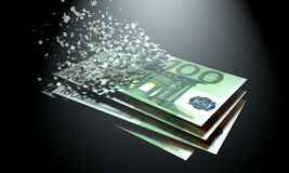 Euros are dematerialized on a black background. royalty free stock photos