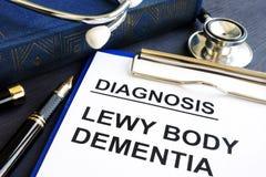 Demens för diagnosLewy kropp på ett skrivbord royaltyfria foton