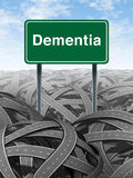Dementia. And alzheimer Disease  medical concept with a green highway road sign with text referring to memory loss and human brain problems with tangled roads Stock Photography