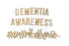 Dementia awareness concept, word spelled out in wooden letters. Dementia awareness training is aimed at professionals who may have to deal with dementia sufferes royalty free stock photos