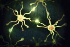 Dementia conceptual image. 3D illustration showing blurred neurons behind wet glass window Stock Images