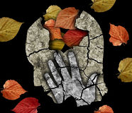 Dementia depression Alzheimer disease. Stylized male head silhouette holding his head.Photo-montage with Dry cracked earth and autumn leaves symbolizing stock image