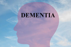 Dementia - neurological concept. Render illustration of DEMENTIA title on head silhouette, with cloudy sky as a background Royalty Free Stock Images