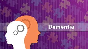 Dementia old people ill sick with head and puzzle as background. Vector graphic illustration Stock Photos