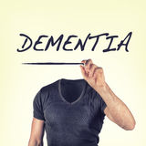 Dementia. Person with the word dementia stock image