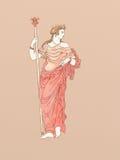 Demeter avec le sceptre basé sur la céramique du grec ancien Image libre de droits