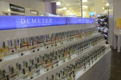 Demeter fragrance library display NYC. Demeter fragrance library display in Duane Reade shop in 40 Wall Street, NYC, New York, USA Stock Image