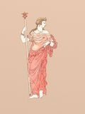 Demeter with Scepter based on ancient greek ceramics. Demeter with scepter, based on ancient greek pottery and ceramics red-figure drawings Royalty Free Stock Image