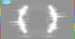Demi-cercle blanc de luxe abstrait de fusée de lumière de vecteur et effet de la lumière d'étincelle illustration libre de droits