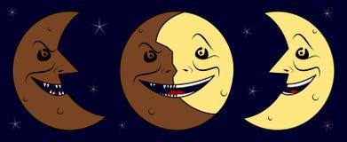 Demi de lune foncée, lune et demi de lune lumineuse Photos libres de droits