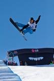 Demi de snowboard de pipe photo stock