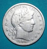 Demi-dollar argenté des 1896 Etats-Unis d'Amérique Images libres de droits