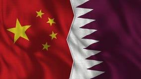 Demi drapeaux de la Chine et du Qatar ensemble illustration libre de droits