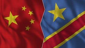 Demi drapeaux de la Chine et du République démocratique du Congo ensemble illustration de vecteur