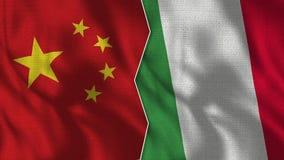 Demi drapeaux de la Chine et de l'Italie ensemble illustration libre de droits