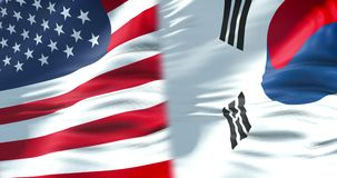Demi drapeaux des Etats-Unis d'Amérique et du demi drapeau de la Corée du Sud, crise entre l'état américain et sud-coréen des Eta illustration de vecteur
