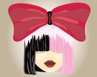 Demi femme à moitié rose de cheveux noirs Image stock