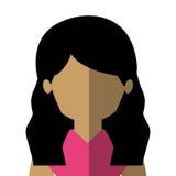 demi latin de femme de corps dans le gradient avec les cheveux onduleux illustration de vecteur