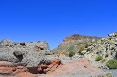 Demi-lune au-dessus de Boca Tauce en parc national de Teide de bâti Photo stock