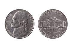 Demi pièce de monnaie en nickel de dixième de dollar des Etats-Unis 25 cents avec une image de portrait de Thomas Jefferson photos libres de droits