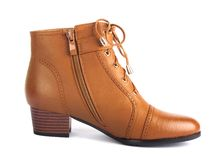 Demi-season brown female boot isolated Stock Image