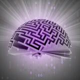 Demi sphère de labyrinthe avec le code binaire et la fusée Photos libres de droits
