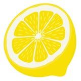 Demi tranche de citron d'isolement sur le fond blanc Photos libres de droits