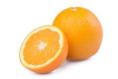 Demi tranche de fruit orange mûr frais d'isolement sur le fond blanc Image libre de droits