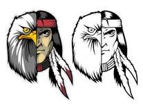 demi visage de l'Amérique indigène et de l'aigle chauve version de couleur et de monochrome Mascotte de bande dessinée peut emplo illustration stock