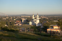 Demidov inclined tower and the Transfiguration of the Savior Cathedral. Nevyansk. Russia. Royalty Free Stock Photography