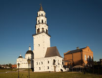 Demidov inclined tower and the Transfiguration of the Savior Cathedral. Nevyansk. Russia. stock photo