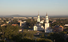Demidov neigte Turm und die Transfiguration der Retter-Kathedrale Nevyansk Russland Lizenzfreies Stockbild