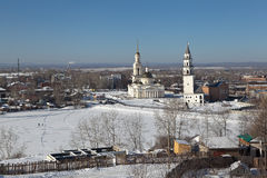 Demidov's leaning tower and the Transfiguration Cathedral. Nevyansk. Sverdlovsk region. Russia. Royalty Free Stock Photos